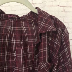 Burgundy/Wine Prana Button Down Flannel